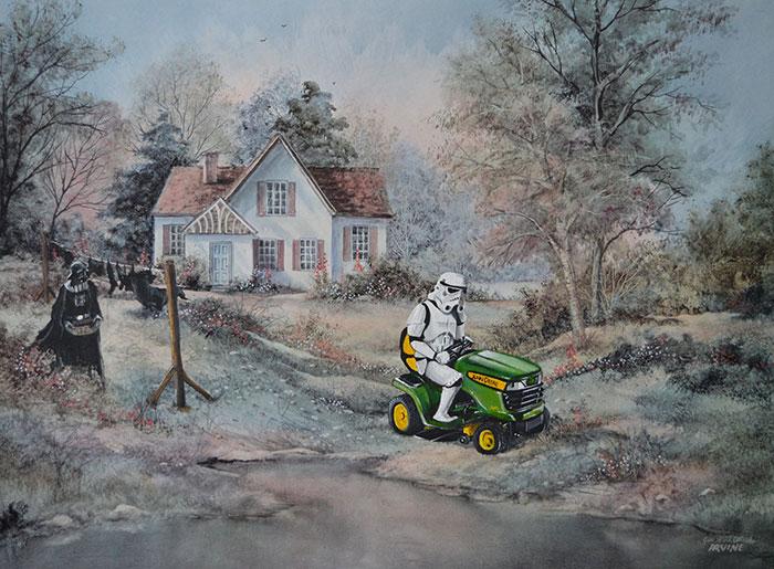 Este hombre sigue dibujando personajes de la cultura pop en pinturas de segunda mano