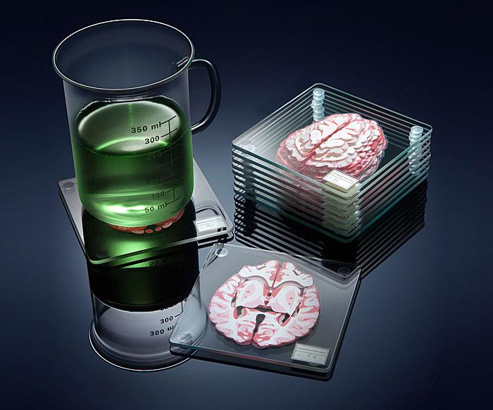 Estos 10 posavasos apilables forman un cerebro 3D sobre tu mesa