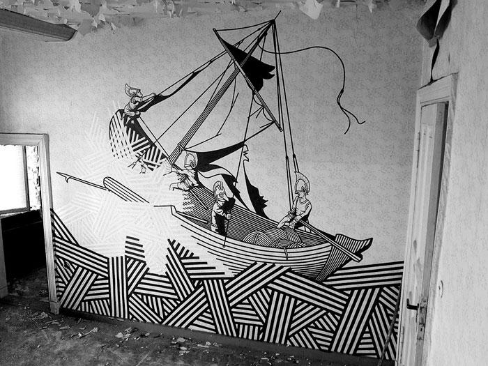 Este artista usa cinta adhesiva en vez de pintura para crear arte urbano