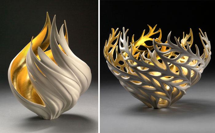 Estas porcelanas inspiradas en la naturaleza tienen fuego dorado en su interior