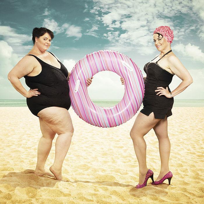 Esta mujer posa consigo misma en fotos mostrando el antes y después de perder 68 kilos