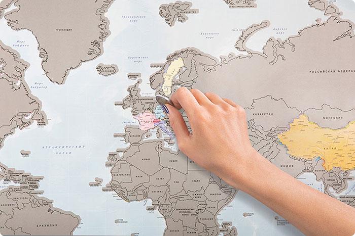 Este mapa para rascar sirve para marcar los países que has visitado