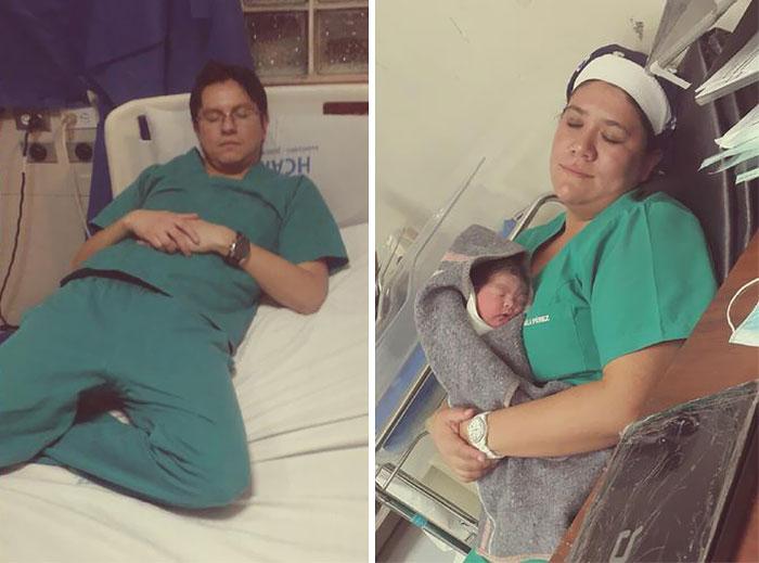Los médicos publican fotos durmiendo en el trabajo para defender a una compañera a la que pillaron dormida