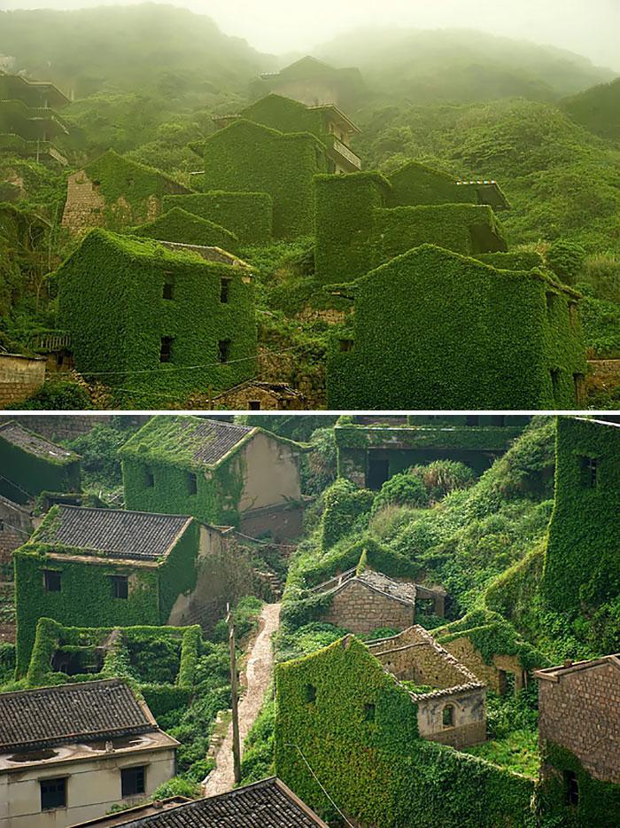 Esta aldea de pescadores abandonada en China está siendo devorada por la naturaleza