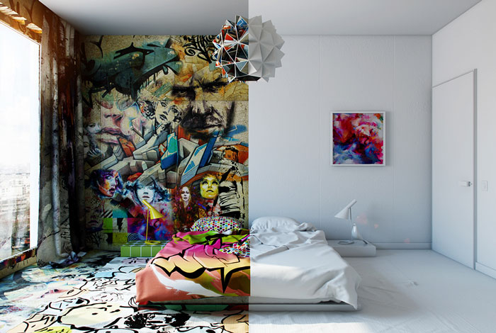 Mitad blanco, mitad graffiti: Un diseñador separa esta habitación de hotel en dos mundos