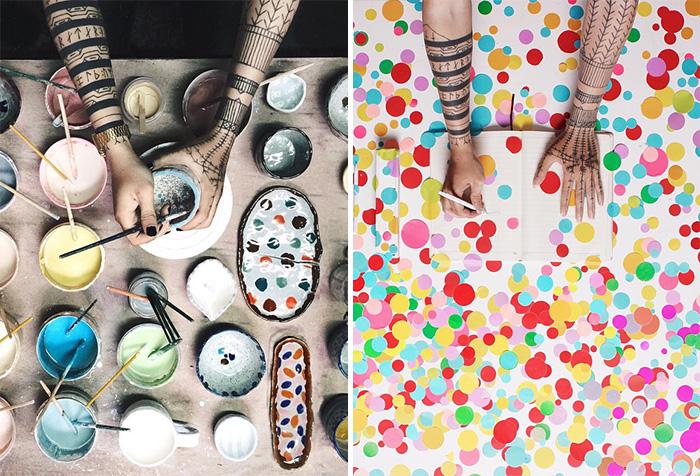 Creativos retratos de las manos de un artista explorando distintas formas de arte