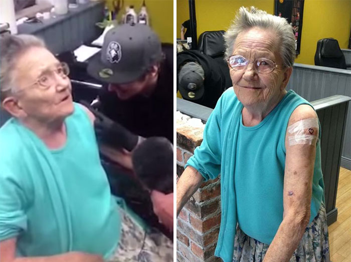 Esta abuela de 79 años se escapó de la residencia de ancianos para hacerse su primer tatuaje