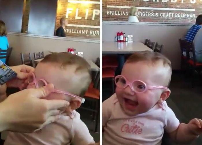 Este bebé consigue ver bien por 1ª vez a sus padres y su reacción es impagable