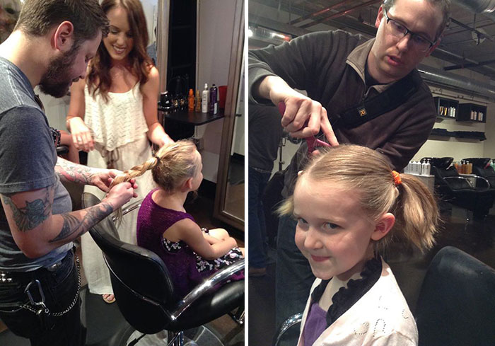 Este salón de peluquería enseña a los padres a peinar a sus hijas a cambio de cerveza