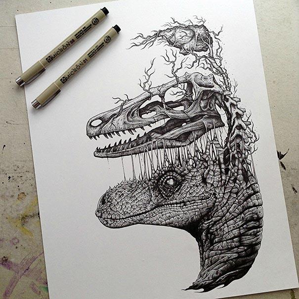 Los animales abandonan sus esqueletos en los asombrosos y oscuros dibujos de Paul Jackson
