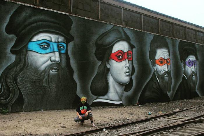 Las tortugas ninja pintadas como los artistas del Renacimiento que les dieron nombre