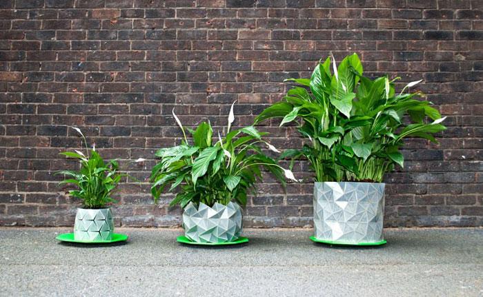 Macetas de origami que se desdoblan para crecer junto con tus plantas
