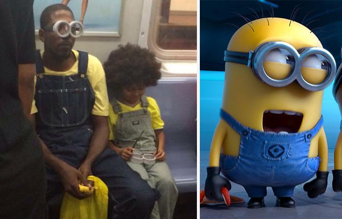 Este padre lleva a su hijo a ver la película de los Minions totalmente disfrazado como ellos