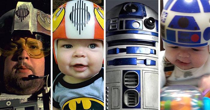 Este padre pintó con motivos de la Guerra de las Galaxias los cascos que tenía que llevar su hijo tras ser operado