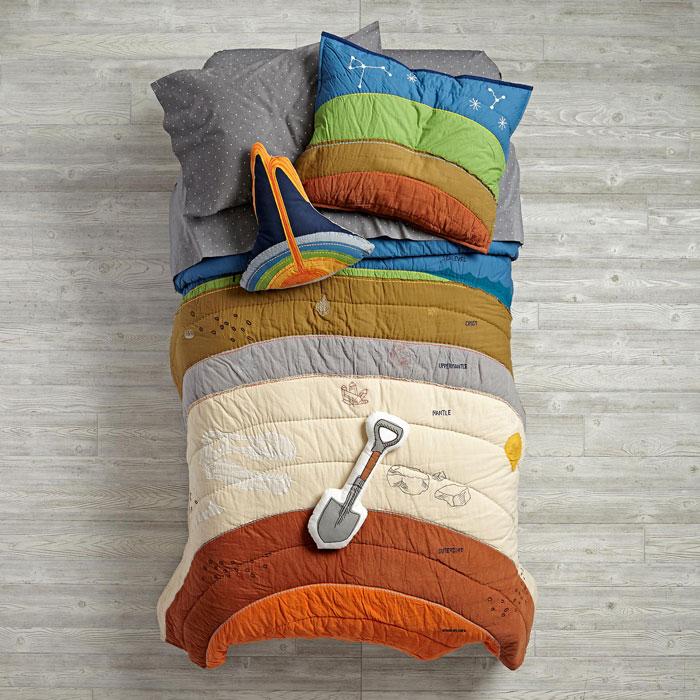 Este juego de cama con las capas de la Tierra te dará ganas de enterrarte bajo las sábanas
