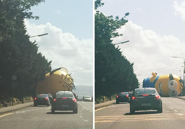 Un minion gigante causa el caos en las carreteras de Irlanda