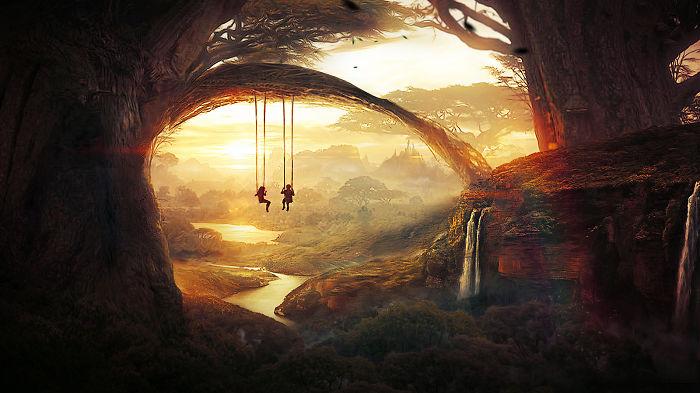 Soy una artista de 17 años que crea paisajes digitales inspirados en los recuerdos de mi infancia