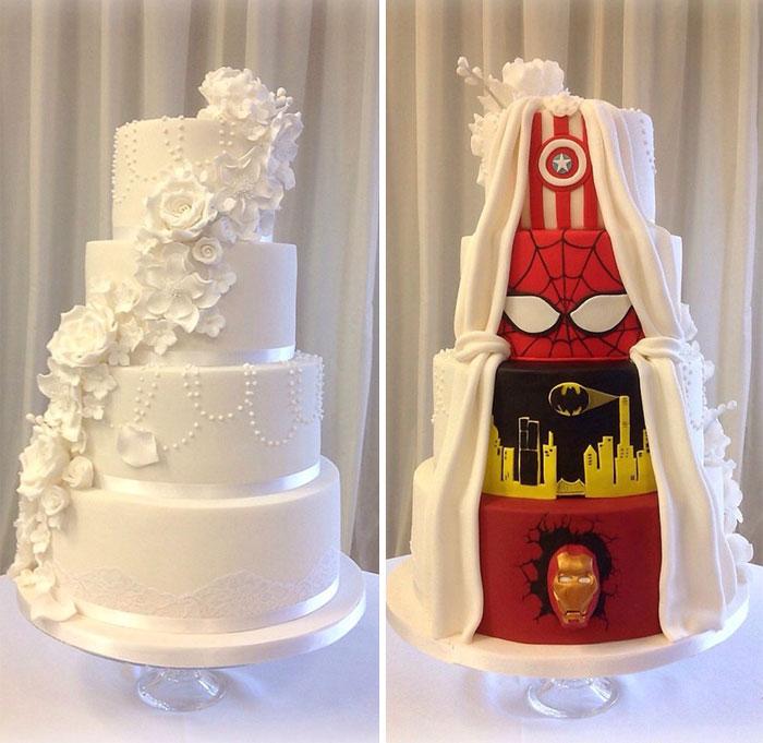 """Esta pareja llegó a un mutuo acuerdo y su pastel de bodas tuvo """"dos caras"""""""