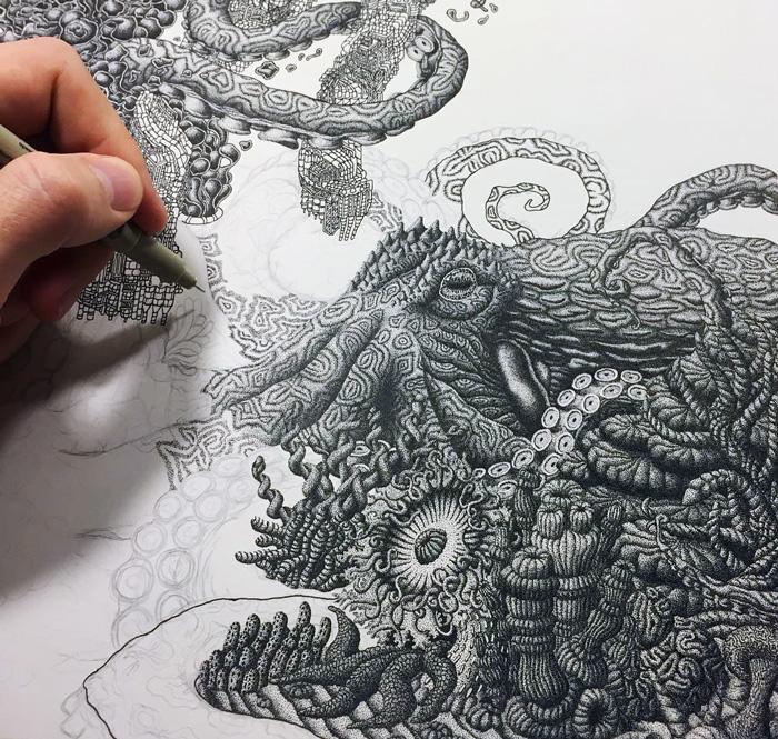 Millones de puntos forman estos intrincados dibujos de tinta para crear conciencia medioambiental