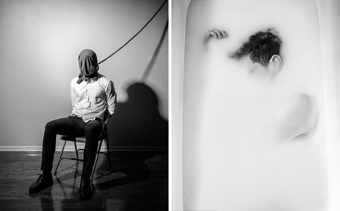 Este fotógrafo documentó su propia depresión con estos oscuros autorretratos