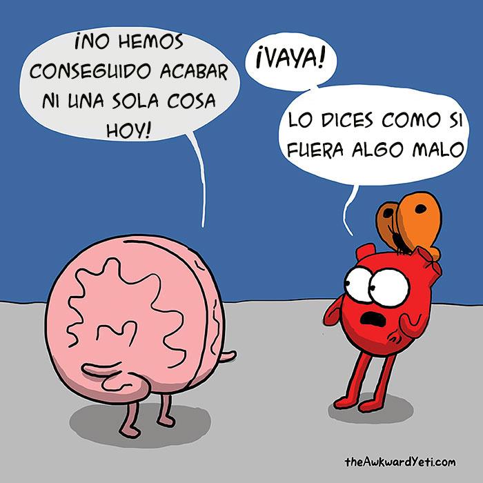 Corazón contra cerebro: Este divertido webcómic muestra la batalla constante entre intelecto y emociones
