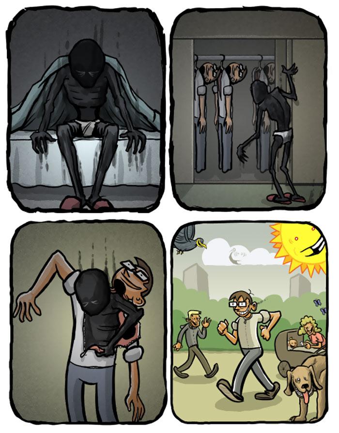 La depresión explicada en sencillos cómics, por Optipess