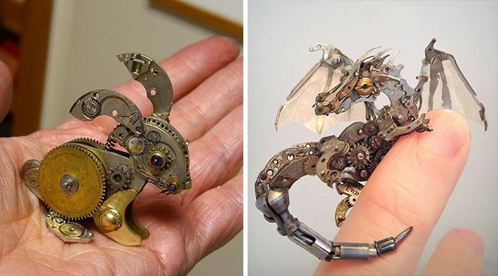 Esculturas steampunk hechas con piezas recicladas de relojes antiguos, por Susan Beatrice