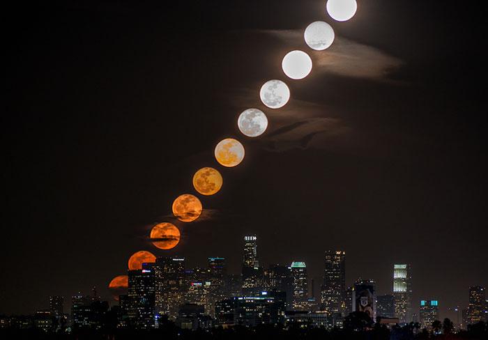 11 Fotos tomadas en 28 minutos muestran la Luna saliendo en Los Angeles