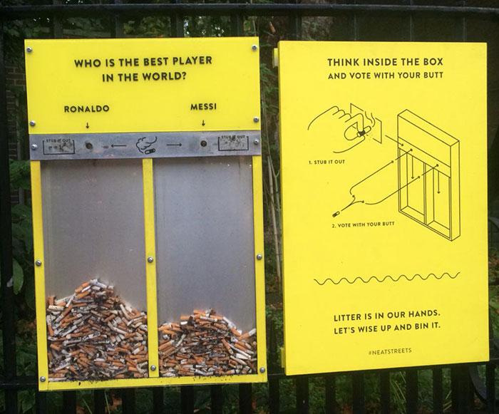 Esta ingeniosa idea evita que la gente ensucie y les hace votar con sus colillas