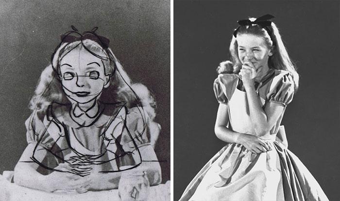 """Estas fotos antiguas revelan cómo los animadores de Disney usaron una modelo real para dibujar """"Alicia en el país de las Maravillas"""""""
