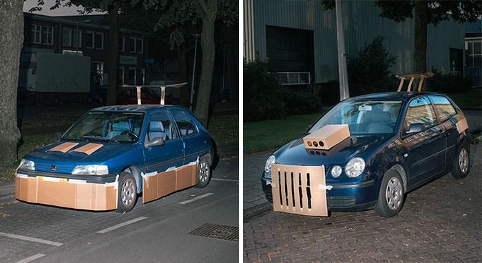 Este hombre se pasea por las noches tuneando coches ajenos con cartón