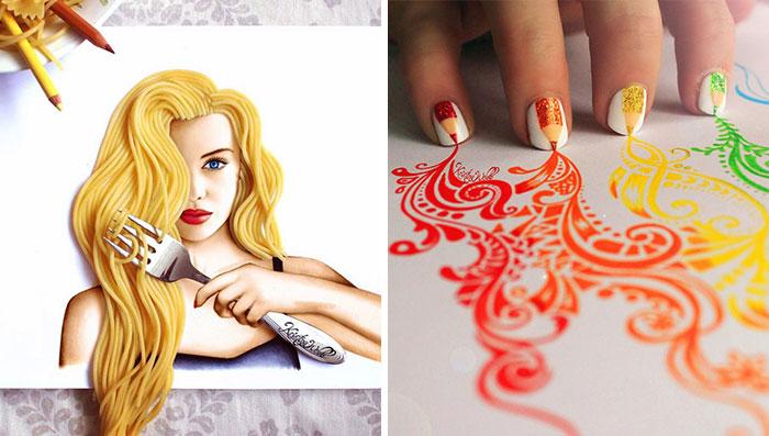 Esta artista de 19 años utiliza objetos reales para completar sus ilustraciones