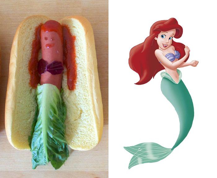 Las princesas Disney reimaginadas como perritos calientes