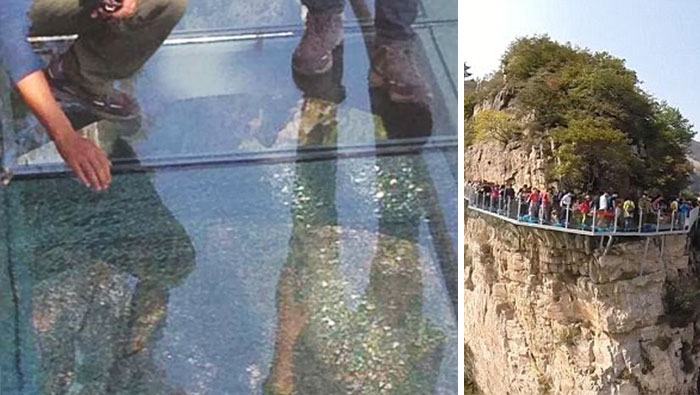 Este puente de vidrio a 1.080 metros de altura se resquebraja bajo los pies de los visitantes