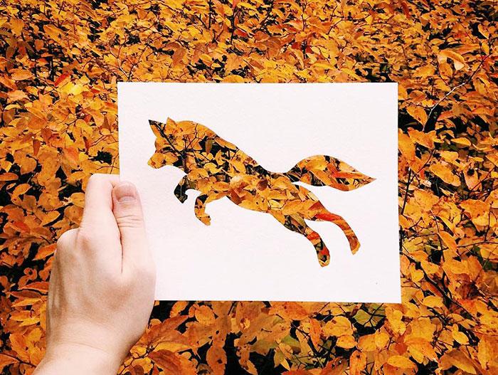 Este artista usa la naturaleza para colorear sus siluetas de animales en papel