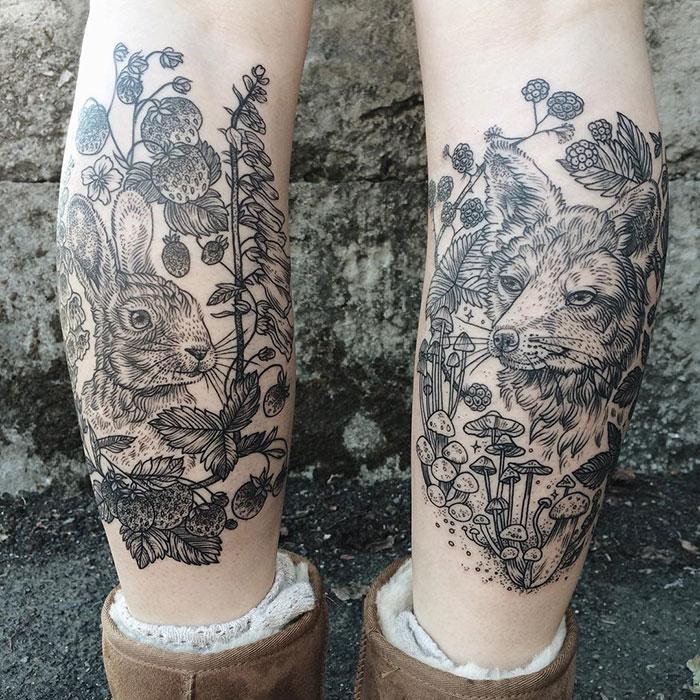 Mágicos tatuajes de flora y fauna inspirados en dibujos antiguos