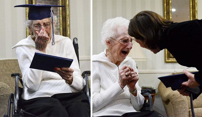 Esta anciana de 97 años llora de alegría tras conseguir al fin su diploma del instituto