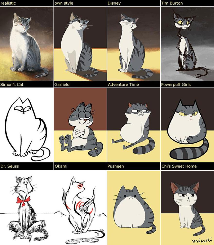 Esta artista dibuja a su gato en 12 estilos distintos, desde Disney a Tim Burton
