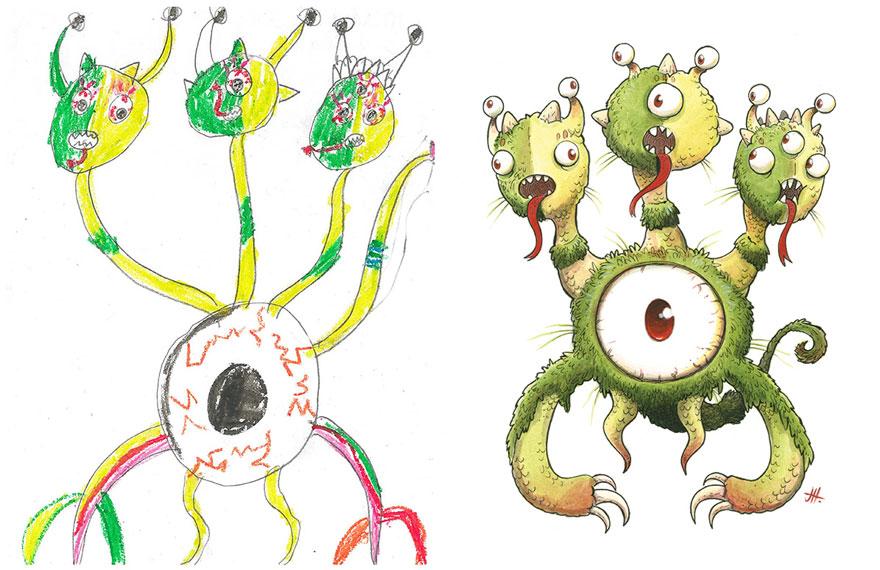 artistas profesionales recrean dibujos infantiles de monstruos en su