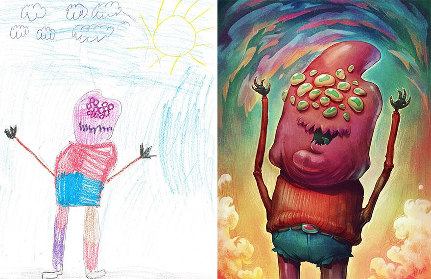 Artistas profesionales recrean dibujos infantiles de monstruos en su propio estilo