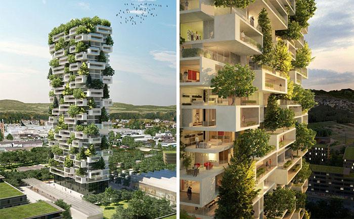 Esta torre de apartamentos será el 1er edificio del mundo cubierto de árboles perennes