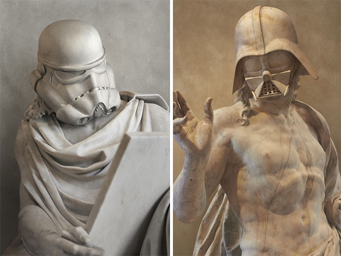 Los personajes de la Guerra de las Galaxias reimaginados como antiguas estatuas griegas