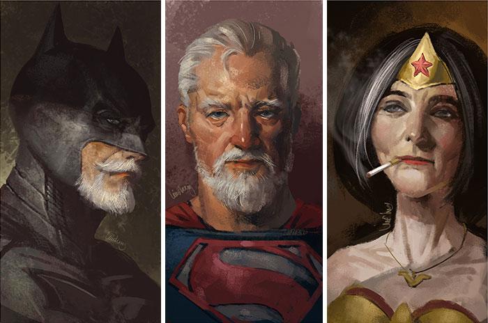 Superhéroes viejos: Este artista muestra el aspecto de estos superhéroes cuando se retiren