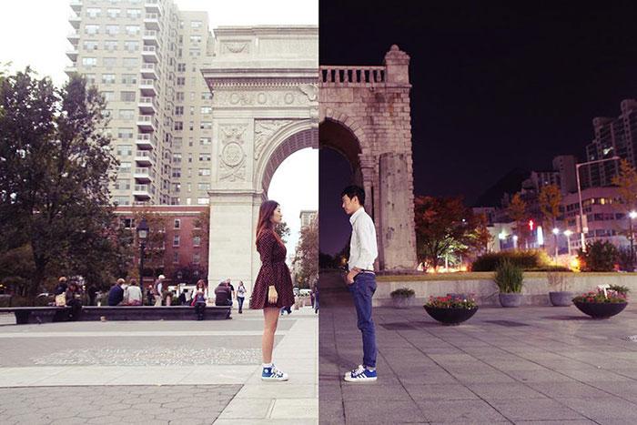 Esta pareja en una relación a distancia conecta creando fotos combinadas