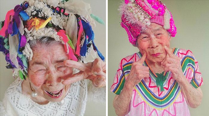 Esta abuela de 93 años hace de modelo para la ropa que crea su nieta