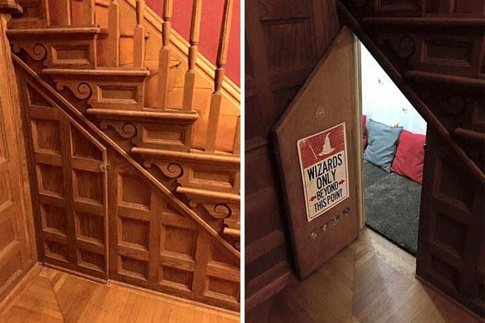 Esta madre transformó el armario bajo las escaleras en la habitación de Harry Potter