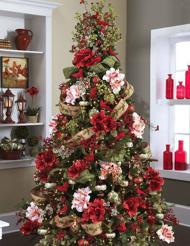 La Ultima Moda Es Decorar El Arbol De Navidad Con Flores Y Queda - Fotos-arboles-de-navidad-decorados