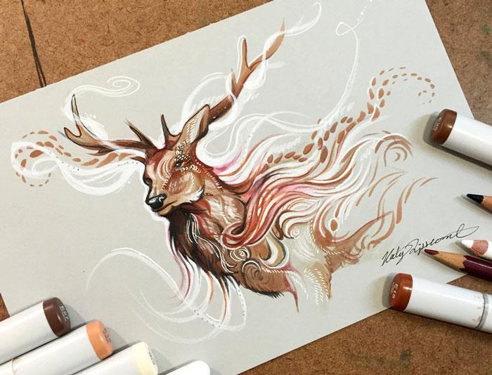Espíritus de animales salvajes en ilustraciones a lápiz y rotulador, por Katy Lipscomb (Entrevista)