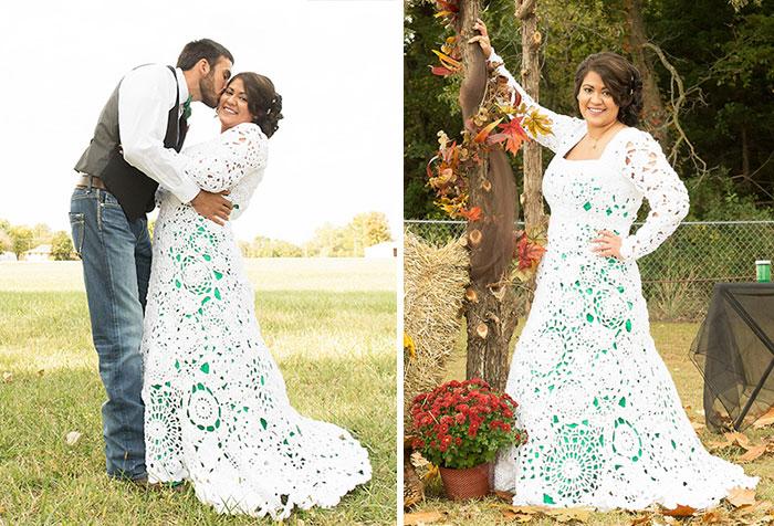 esta novia pasó 8 meses tejiendo su propio vestido de boda de 70