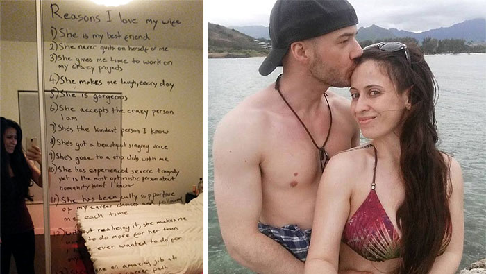 Este encantador marido hizo una lista con las razones por las que ama a su esposa, que sufre depresión